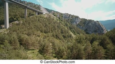Aerial, Bridge Above Torrent Del Bac Divi, Pyrenees, Spain - graded Version