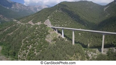 Aerial, Bridge Above Torrent Del Bac Divi, Pyrenees, Spain - native Version