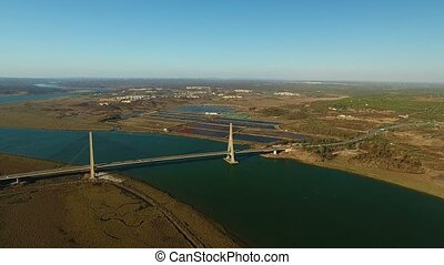 Aerial. Bridge over Guadiana. Border Spain Portugal. -...