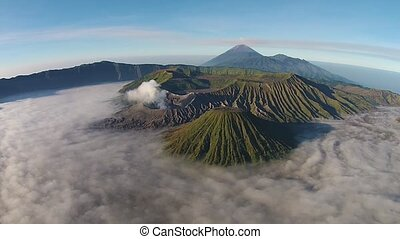 Aerial Bromo volcano, sunrise, Tengger Semeru National Park,...