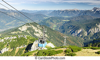 Aerial cableway gondola in Bavarian Alps mountains