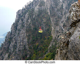 Aerial cableway in Crimea mountains. Ukraine