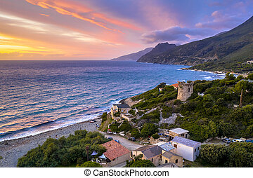 Aerial Cap Corse - Aerial view of Corsican coast with ...