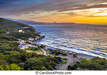 Aerial Cap Corse - Aerial view of detail of campsite on ...