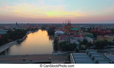Aerial: Cathedral Island in Wroclaw, Poland. Wroclaw View at...