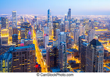 Aerial Chicago City downtown