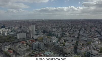Aerial cinematic View of Berlin cityscape panoramic look around