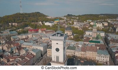 Aerial City Lviv, Ukraine. European City. Popular areas of the city. Town Hall