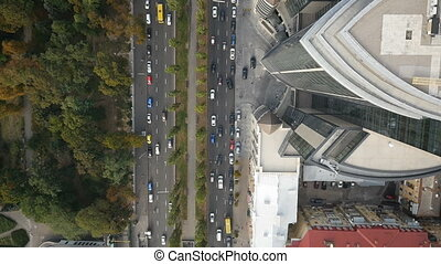 Aerial city trafic cityscape - Aerial view looking down from...