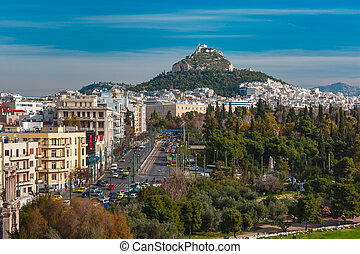 Aerial city view in Athens, Greece