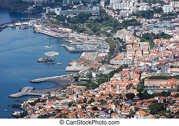 Aerial cityscape from the port area of Funchal, Madeira Island, Portugal