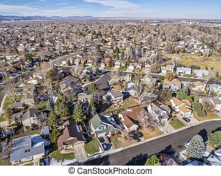 aerial cityscape of Fort Collins - cityscape of a typical ...