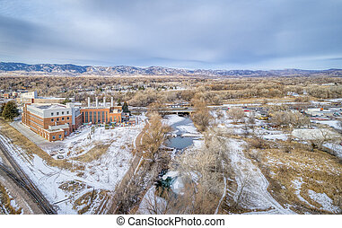 aerial cityscape of Fort Collins, Colorado, with Poudre ...