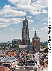 Aerial cityscape of medieval city Utrecht,the Netherlands
