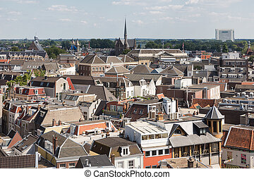 Aerial cityscape of medieval city Utrecht, fourth city of...