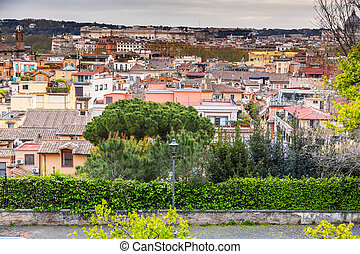 Aerial cityscape of Rome from Pinco Terrace