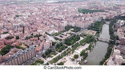 Aerial cityscape of Spanish city Valladolid in autonomous ...