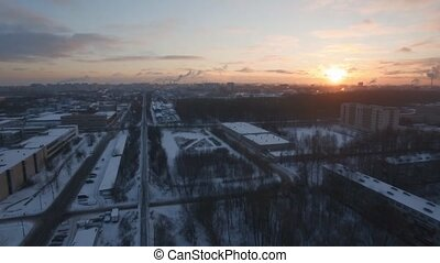 Aerial cityscape of St. Petersburg in winter at dawn, Russia