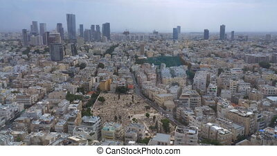 Aerial cityscape of Tel Aviv. Architecture of Israel