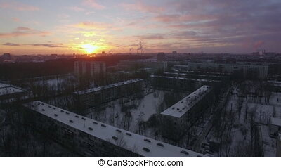 Aerial cityscape of winter St. Petersburg at sunrise, Russia