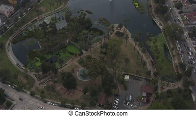 AERIAL: Close Up on Echo Park Lake in Los Angeles with Palm ...