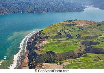 Aerial coastal landscape