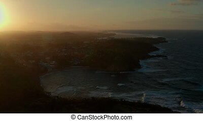 Aerial coastal view of cosatal Puerto Rico. Cinematic 4K ...