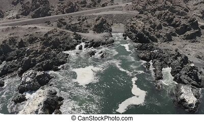 Aerial, Coastline At Bahia De Cascabel, Chile - flat (HLG) -...