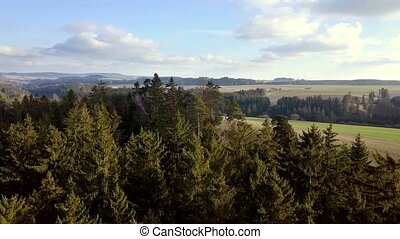 aerial countryside highland landscape with forest -...
