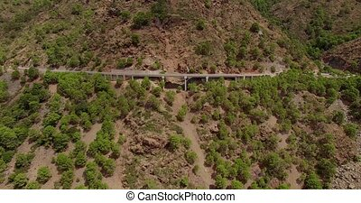 Aerial. Curvy Road in Spanish Mountains