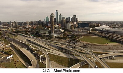 Aerial Dallas Texas Downtown City Skyline Buildings Highways