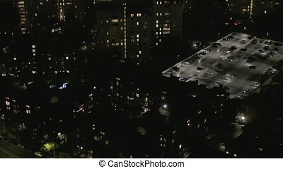 AERIAL: Dark Apartment Towers , Complex in Hollywood Los Angeles, California at Night HD