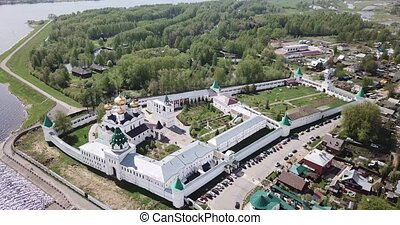 Aerial day view of Ipatiev monastery of Kostroma in Russia...
