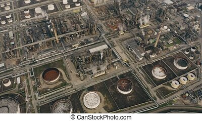 Aerial down view of a big chemical plant - Aerial shot of a...