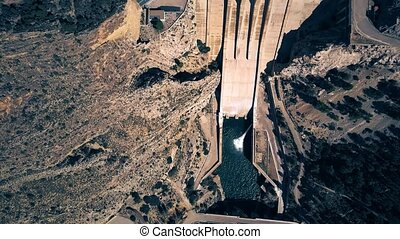 Aerial down view of hydroelectric power plant dam - Aerial...