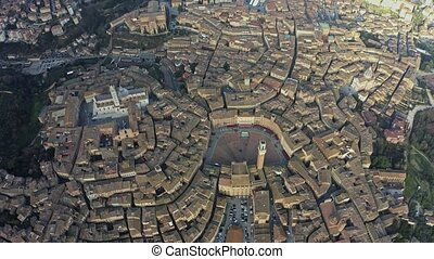 Aerial down view of the city of Siena, Italy - Aerial down...