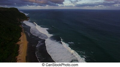 Aerial drone 4k footage of ocean waves breaking of the...