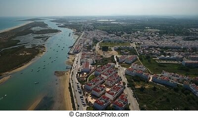 Aerial Drone. Aerial view of the village of Cabanas de...