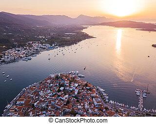 Aerial drone bird's eye view photo of Sunset on Poros island, Greece