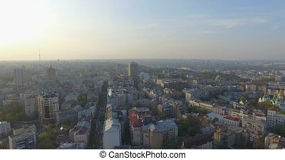 Aerial Drone Flight Footage: Picturesque View of Kiev cityscape