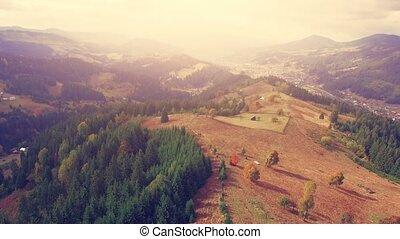 Aerial Drone Flight in Carpathian mountains
