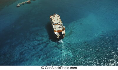 Aerial Drone Flight over Big Ferry Boat Sailing