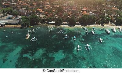 Aerial Drone Flight over Crystal Ocean Harbor Bay, Fishing...