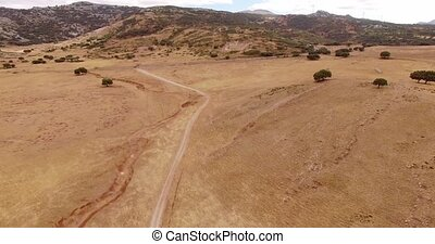 Aerial. Drone Flight Over Dry Field of Grass
