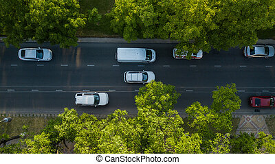 Aerial Drone Flight top down View of freeway busy city rush hour heavy traffic jam highway.
