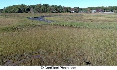 Aerial Drone - Fly Low Over Marsh Passing Over Small River...