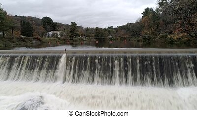 Aerial Drone - Fly Over Artificial Spillway Near Waitsfield...