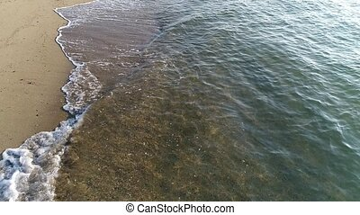 aerial drone flying, above the shore wave