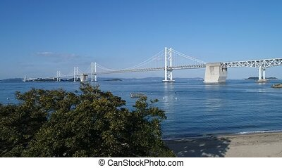 Aerial drone flying, blue sea, Seto-bridge - Aerial drone...