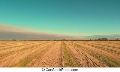 Aerial drone flying low down over a of sunrise over a freshy cut wheat field - Summer 2018